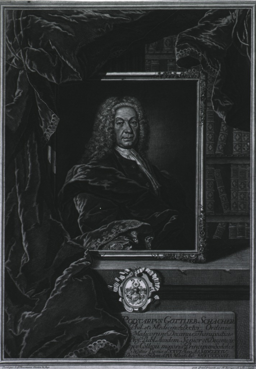 <p>Half length, right face; long flowing wig; wearing heavy robe.  Very ornate print; portrait in frame; book shelf in background; heavy curtains; coat-of-arms under print.</p>