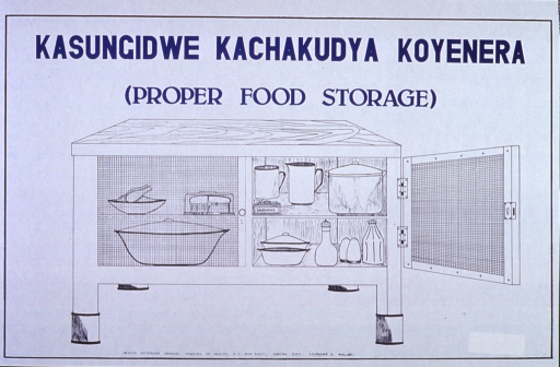 <p>White poster with blue lettering.  Title at top of poster.  Visual image is an illustration of a cabinet with screen doors, apparently to protect the food contained within from contamination.</p>