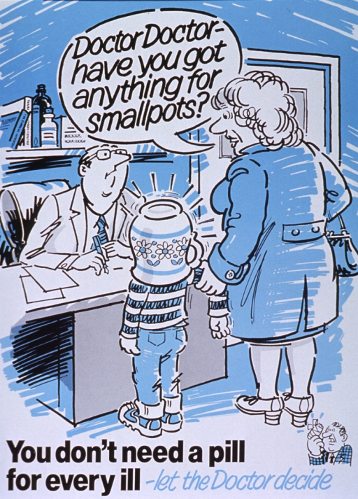 <p>White and blue poster with black and blue lettering.  Title at top of poster in a caption bubble.  Visual image is an illustration of a woman and child standing in front of their doctor's desk.  The woman speaks the title while holding on to the child's arm.  The child has a pitcher or flower pot covering its head.  The doctor sits at the desk with pen and paper.  Note at bottom of poster.</p>