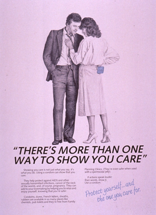 <p>Poster is black and white with the picture caption and part of the visual in light blue. The visual shows a photo reproduction of a middle age couple, the man wearing a suit and tie and the woman in a skirt and blouse. The woman is facing the man, one hand resting on his chest and the other behind her back holding a condom packaged in light blue wrapping.  The text of the poster emphasizes the importance of using condoms to help prevent HIV infections, AIDS, and other sexually transmitted diseases, as well as cervical cancer and unwanted pregnancy. It points out how easy it is to buy condoms and that regardless of the slang used when referring to condoms, they are one way of showing how much you care about protecting your partner.</p>