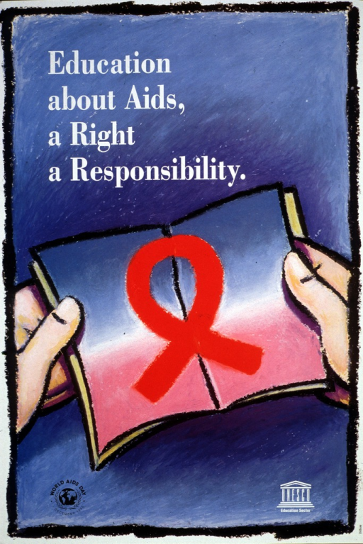 <p>Predominantly blue poster with white and black lettering.  Title in upper left corner.  Visual image is a color illustration of two hands holding a booklet or card opened to reveal a red AIDS-awareness ribbon.  Note and globe logo in lower left corner.  Publisher information in lower right corner.</p>