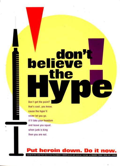 <p>White poster with multicolor lettering.  Title dominates center of poster.  Visual image is an illustration of a syringe on the left side of the poster.  Caption and publisher information near bottom of poster.</p>