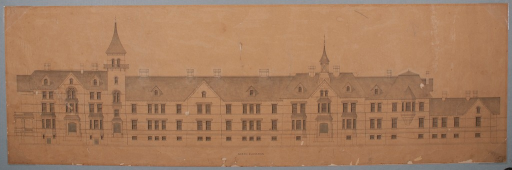 <p>Calvert Vaux's architectural design proposal for the Sheppard Asylum, Baltimore, Md.</p>