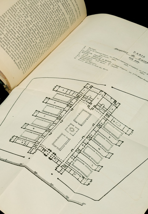 <p>Image of the building plan of the Hospital Lariboisiere, Paris, as an unfolded page in an open book. Subsidiary notes as to the introduction of female nursing into military hospitals in peace and war.</p>