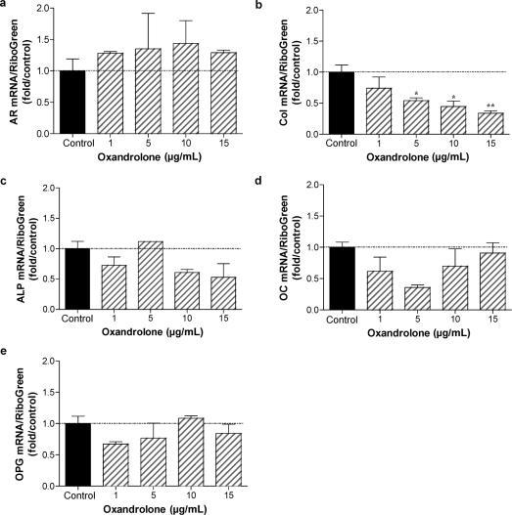 Consequence of oxandrolone treatment on gene expression in normal human osteocytes: dose-response analysis. Normal human osteoblastic cells were cultured as described in Figure 5. Osteocytic cultures were treated for 5 days with 0, 1, 5, 10, and 15 μg/mL oxandrolone. Total RNA was isolated and gene expression characterized by qRT-PCR analysis using human primers specific for AR, type I collagen (col), alkaline phosphatase (ALP), osteocalcin (OC) and osteoprotegerin (OPG). n = 2 to 4. *P < .05; **P < .01.