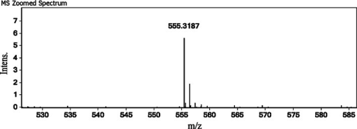 The molecular mass of TNGYT determined by ESI–MS. The molecular mass of purified TNGYT is 554.3 Da