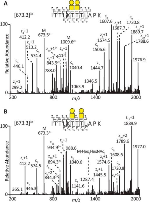 Identification of glycosylation sites using electron tr