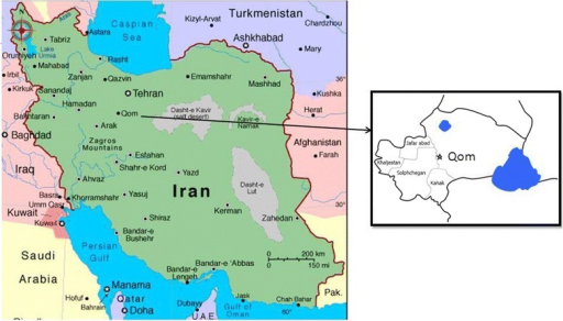 Location of Qom Province, central Iran.