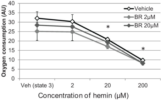 BR was not able to prevent hemin-mediated decrease of mitochondrial respiration. Liver mitochondria were isolated as described in the Materials and Methods section and treated with BR in the indicated concentration or with DMSO (Veh). State 3 respiration of complex II was induced by adding ADP and effects on oxygen consumption were determined after adding hemin in the indicated concentrations. Data are given as means (±SD), obtained from one experiment with n = 2 (control)/4 (BR) replicates, indicating significant differences (*) to the control (Veh state 3).