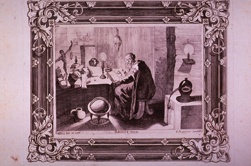 <p>Interior view: An alchemist is sitting at a desk studying anatomical drawings in a book.</p>