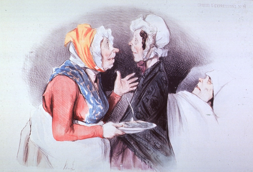 <p>Caricature:  Two women are discussing the choice of food on a plate for a patient in bed in the background.</p>