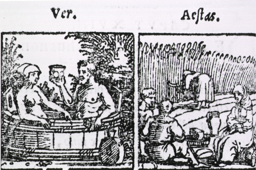 <p>&quot;Ver&quot; and &quot;Aestas&quot; Companion illustrations show a couple, the man holding a goblet of wine, bathing in a tub in spring; four peasants at harvest time in the summer.</p>