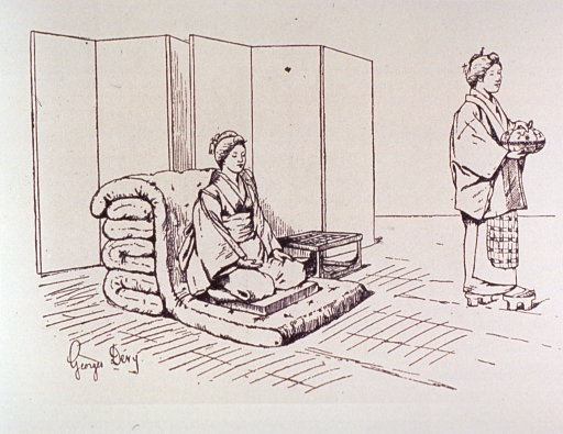 <p>A pregnant woman is kneeling on a mattress; an attendant stands to the right.</p>