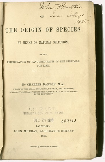 <p>Title page for On the origin of species by means of natural selection, or, The preservation of favoured races in the struggle for life / by Charles Darwin. London : John Murray, 1859.</p>