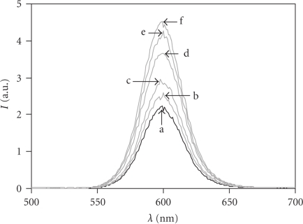 Emission spectra of CdSe-ZnS core-shell QDs (0.1 μM inborate buffer, pH = 7.4, T = 20°C, λEX = 442 nm) coated with DHLA in the absence (a) and presence of 0.5 (b), 1.0 (c), 2.0 (d), 5.0 (e), and 10.0 (f) μM of His6-PDK1(ΔPH).