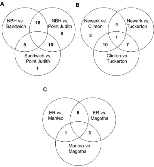Venn diagrams of shared outlier loci in each Superfund comparison. Outlier loci in comparisons of each Superfund populations to both its clean reference sites; numbers in the unions of circles represent outlier loci shared among populations. A) New Bedford Harbor, MA Sandwich, MA and Pt. Judith, RI comparison. B) Newark Bay, NJ, Clinton, CT, and Tuckerton, NJ comparison. C) Elizabeth River, VA, Magotha, VA and Manteo, NC comparison.