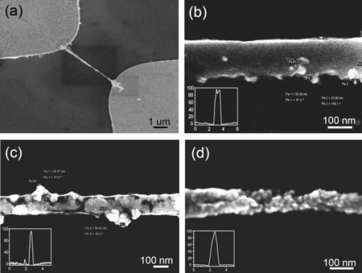 Fabricated SMNWs with different ZnO NPs concentrations. (a) Low-resolution SEM image of 5-μ m-long SMNW, entrapped ZnO NPs with uniform structure. (b) Highly magnified image of 5 wt.% ZnO NP-entrapped PANI nanowire with 97 nm height and 133 nm width. Diameters of the observed particles are 33.90 and 35.39 nm. (c) 10 wt.% ZnO NP-entrapped PANI nanowire with 108 nm height and 110 nm width. Diameters of the observed particles are 54.87 and 59.42 nm. (d) 20 wt.% ZnO NP-entrapped PANI nanowire with 98 nm height and 80 to 110 nm width. It can be seen that the agglomerated particles greatly changes surface morphology of the SMNW with taped shape.