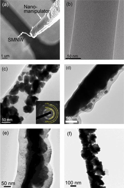 HRTEM images of single PANI nanowire and SMNWs with different ZnO NPs concentrations. (a) Single 10 wt.% ZnO NPs-entrapped nanowire was extracted from the electrode and transferred to the TEM sample grid by a nanomanipulator. The SMNW was scratched laterally at the end of nanowire and detached. (b) HRTEM image of single PANI nanowire: 0 wt.% ZnO NP concentration. ZnO NPs are absent in this single nanowire. Note the good width uniformity of 137.5 nm. (c) HRTEM image of 5 wt.% ZnO NPs (width, 154 nm) and (d) 10 wt. % ZnO NPs-entrapped PANI nanowires (width, 113 nm). The diffraction pattern for each SMNW is shown in the corresponding inset. Note the ring patterns (PANI) and dots indicating randomly oriented crystalline structure (ZnO). (e) 1 wt.% ZnO NPs-entrapped PANI nanowire from applying a current of 900 nA in the growing condition. (f) 2.5 wt.% ZnO NPs-entrapped PANI nanowire from applying a current of 900 nA in the growing condition. The SMNWs of (e) and (f) show tightly agglomerated ZnO NPs inside the nanowire similar to the nanowire of (d).