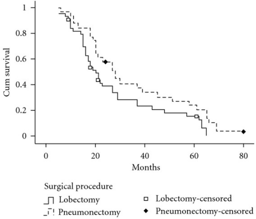 Survival curves according to surgical procedures. The 5-year survival rate for patients with SCLC was 16.1% by lobectomy, 24.0% by pneumonectomy. There was significant difference in the overall survival rate between the two groups (P = 0.044).