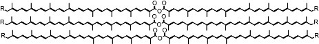 Proposed structure of stacked polyenic carotenoid ester chains.