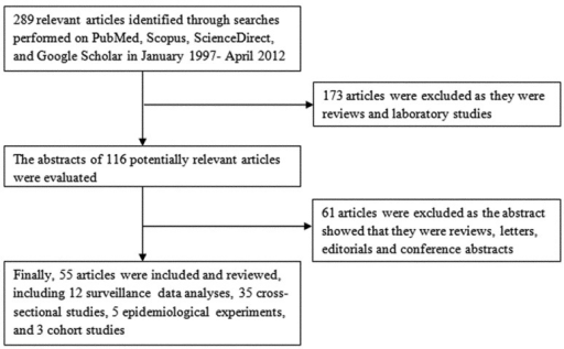 Process of selection of articles for inclusion in the review.