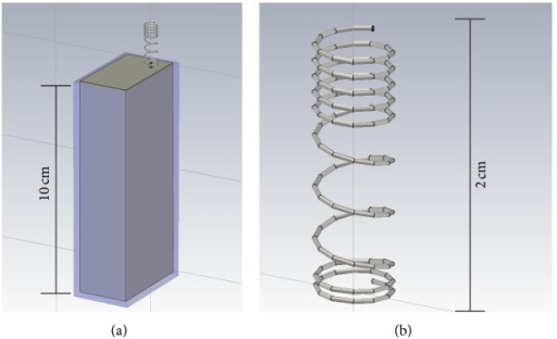 Numerical model of the cell phone (a) with a detail of the helix antenna (b).