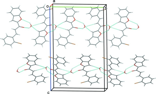 A view along the a-axis of the crystal packing of the title compound. The intermolecular interactions are represented by dashed lines (see Table 1).