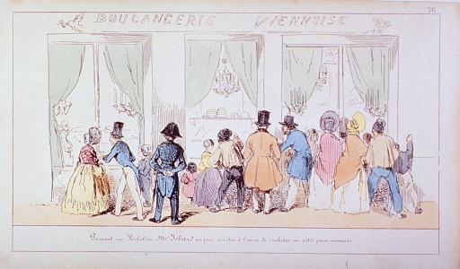 <p>First in a series of five:  A man (M. Jobard) with a weakness for pastry is standing among a crowd of people outside a bakery.</p>