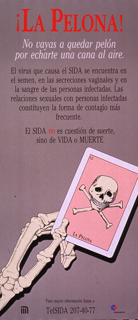 <p>Predominantly taupe poster with multicolor lettering.  Title at top of poster.  Title addresses baldness and not becoming bald by exposing a gray hair to the air.  Lengthy caption below title explains that HIV is most often transmitted via sexual relations with infected people.  Note below caption states that AIDS is not a question of luck, just life or death.  Visual image is an illustration of a hand holding a card suggestive of a tarot card; the card features a skull and crossbones.  Hotline number and publisher information at bottom of poster.</p>