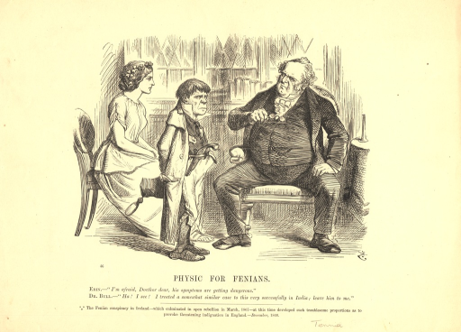 <p>A large well-dressed doctor, representing England, sits in a chair and looks at an unkempt diminutive man, representing, the Fenians, who stands before the doctor and scowls.  Pistols are visible in the belt and pocket of the man representing the Fenians. A woman wearing a wreath of clovers in her hair sits in a chair and stares at the doctor.</p>