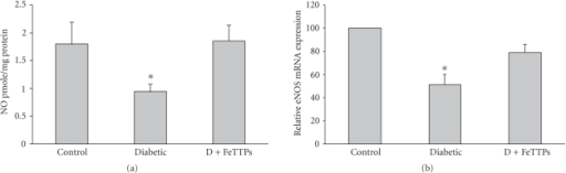 FeTPPs restored nitric oxide production and eNOS expression in diabetic rat vessels. (a) Diabetes significantly reduced NO formation in rat aortic homogenate as measured by NO analyzer. Cotreatment of diabetic animals with FeTPPs restored NO back to normal levels (n = 6 in each group). Values are expressed as means ± SEM, *P < .05 versus control. (b) Real-time PCR of eNOS expression from aortic endothelial homogenate showed that diabetes significantly decreased eNOS expression (~50%) of control level, and FeTPPs restored eNOS expression to 87% of basal level (n = 5 in each group). Values are expressed as means ± SEM, *P < .05 versus control.