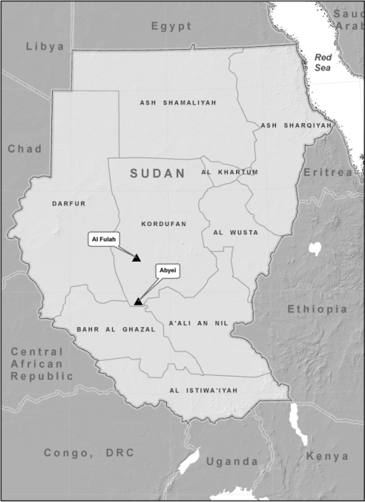 Map of Sudan showing the location of Abyei and Al-fulah towns in Kordufan region, Sudan.