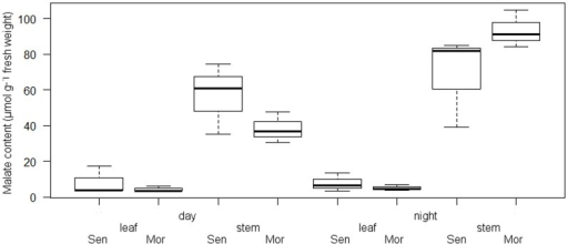 Box plot (n = 3) of malate contents of stems and leaves (µmol g−1 fresh weight) of E.tirucalli genotypes Morroco (Mor) and Senegal (Sen).