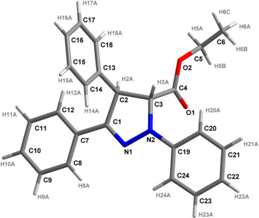 Crystal structure of compound 3. To confirm the regiochemistry of the cycloaddition for Δ2-pyrazoline 3, a single crystal for compound 3 was obtained. The absolute configuration was determined using X-ray structural analysis.