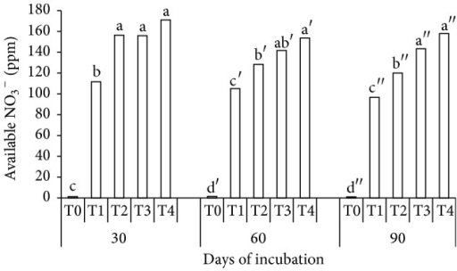 Effects of treatments (T0, T1, T2, T3, and T4) and periods (30, 60, and 90 days) of incubation on soil available nitrate. Note. T0: 250 g soil (no urea); T1: 250 g soil + 7.40 g urea (no additives); T2: 250 g soil + 7.40 g urea + 6 g clinoptilolite zeolite; T3: 250 g soil + 7.40 g urea + 6 g compost; T4: 250 g soil + 7.40 g urea + 6 g compost + 6 g clinoptilolite zeolite. Means with the same letter are not significantly different by Tukey's test at P ≤ 0.05. Note. Letters without prime represent 30 DAI, single prime superscript represents 60 DAI, and double prime superscript represents 90 DAI.