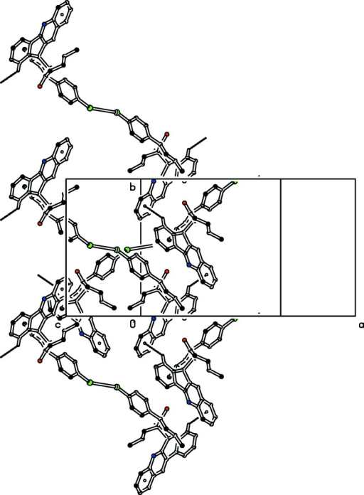 The partial packing diagram showing C—H···π interactions as dashed lines. All H-atoms are omitted for clarity except for the H atom involved in the intermolecular interaction.