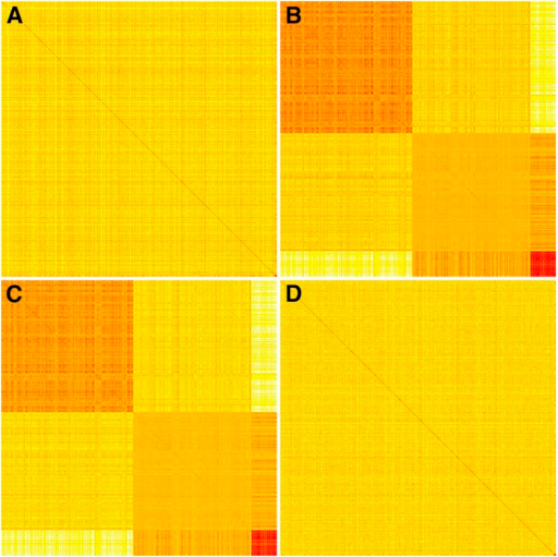 Heat maps of the realized relationship matrix (G) and three trait-specific relationship matrices (S) in dairy cattle dataset. The G matrix was built with all markers (A), and S matrices were built with top 1% SNPs for fat% (B), milk yield (C), and somatic cell score (D), respectively. These matrices were calculated with the genotypes of 1000 randomly selected bulls, and these bulls were sorted by their genotypes of the SNP with the largest marker effects for each trait.