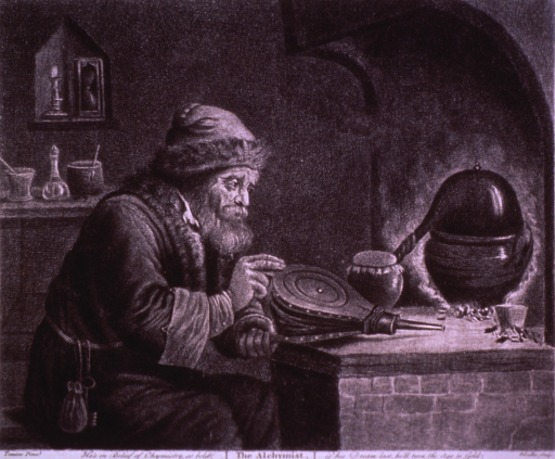 <p>An old man holding a bellows is sitting before a furnace heating a substance in a condenser.</p>