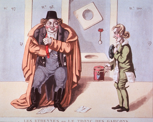 <p>Interior view or public restroom:  A man wearing an overcoat, boots, and a hat is adjusting his suspenders; another man stands next to him holding a tankard with an opening for change and a padlock on it, he is selling papers for use as toilet paper.</p>