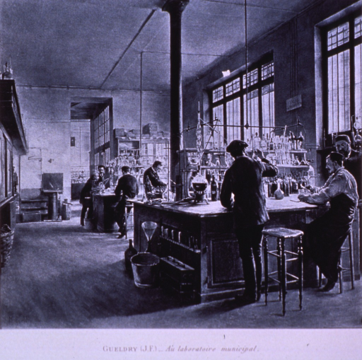 <p>Interior view of a chemical laboratory: several men are working at laboratory benches.</p>