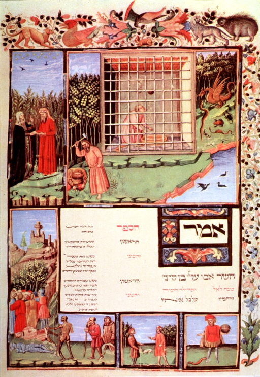 <p>Among other scenes is one showing a physician and a lady.  Note the characteristic red robe of the 15th c. physician.</p>