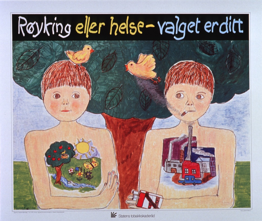 <p>Multicolor poster bounded by white, featuring two young children against a background of green grass, blue sky, and a green, leafy tree.  Child on left has beautiful nature scene on chest and yellow bird atop head.  Child on right has pack of cigarettes in hand, smoky industrial scene on the chest and cigarette hanging from the mouth.  A second yellow bird flies away from the smoke emerging from the child's cigarette.  Logo for Statens tobakkskaderad appears centered at bottom of poster.</p>