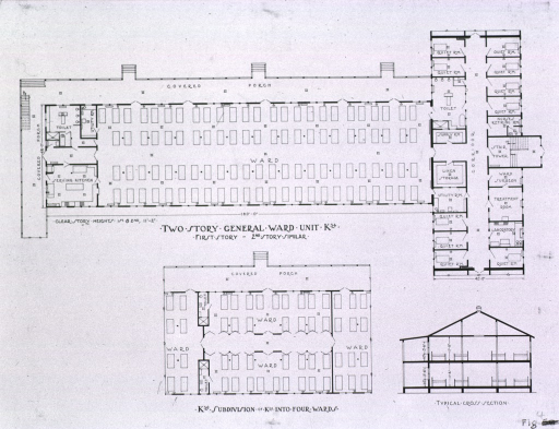 <p>Picture caption: Two story general ward unit K34; K56 subdivision of K34 into four wards.</p>