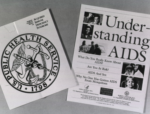 <p>Covers from two brochures: Surgeon General's Report on Acquired Immune Deficiency Syndrome; and Understanding AIDS.</p>