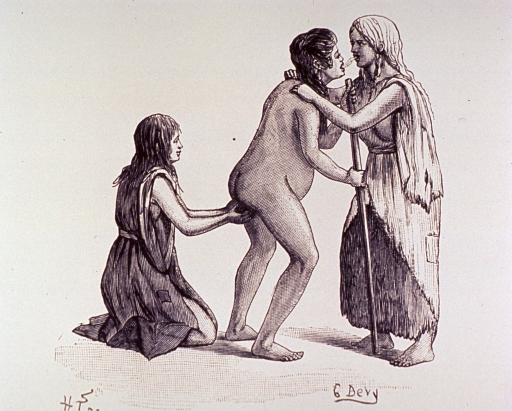 <p>Birthing scene: the woman in labor is standing, leaning on a staff; behind her and kneeling on the ground is another woman ready to receive the infant; another woman is standing with her hands on the pregnant woman's shoulders, breathing into her mouth.</p>