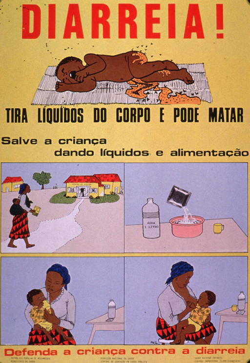 <p>Predominantly yellow poster with red and black lettering.  Initial title word at top of poster.  Illustration of a child experiencing diarrhea below.  Remaining title text and note below illustration.  Note encourages saving a child by giving liquids and food.  Lower portion of poster features illustrations of a mother going to a health center, mixing a rehydration solution, a mother bottle feeding a child, and a mother breastfeeding a child.  Caption below illustrations urges protecting a child from diarrhea.  Publisher information at bottom of poster.</p>