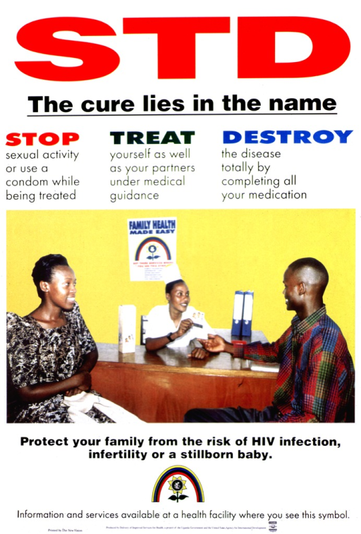 <p>White poster with multicolor lettering.  Title at top of poster.  Caption below title.  Visual image is a reproduction of a color photo showing a man and woman consulting a health worker and receiving a package of condoms.  Note below photo.  Family health logo, consisting of a rainbow that arcs over a flower featuring a four-member family, below note.  Publisher and sponsor information at bottom of poster.</p>