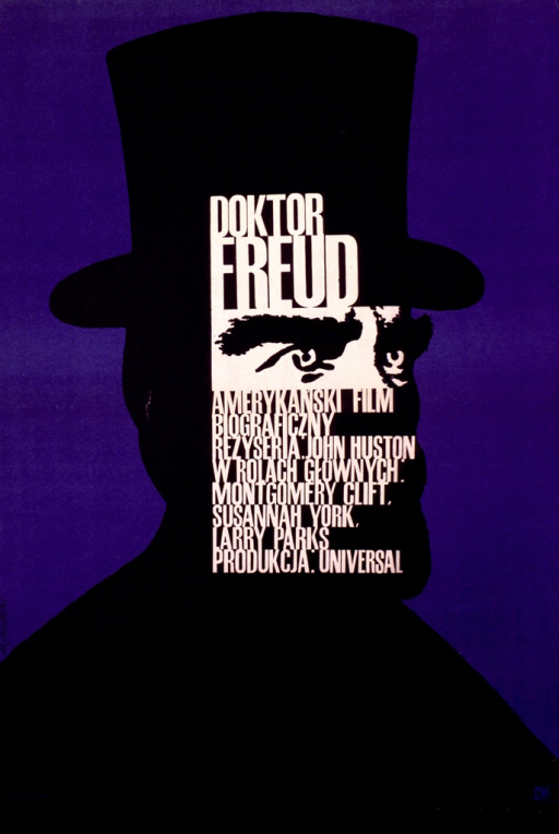 <p>Blue poster with a black outline of a man wearing a top hat, viewed from the head to the shoulders. A small section of the head has a beige background with the eyes and eyebrows in black. The information is in beige and is printed over the hat and face.</p>