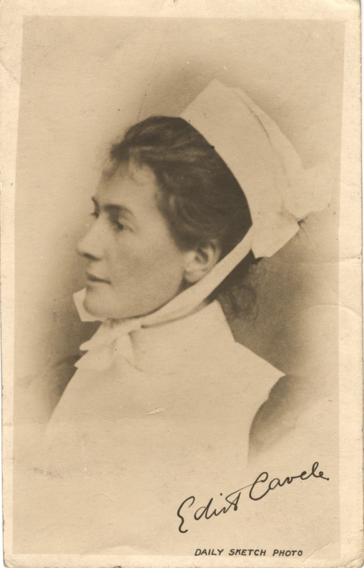 <p>Postcard featuring a black and white autographed photograph of Edith Cavell in her nurse's uniform. The photograph was taken in 1909, and was reproduced in the London daily sketch a few days after Cavell's execution. The postcard was distributed for the duration of the war.</p>
