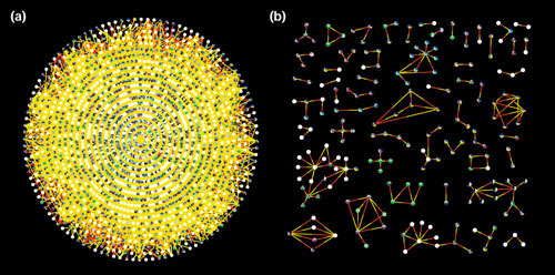 Searches and filters. (a) Network containing 2,245 vertices and 6,426 edges from combined datasets of Gavin et al. [10], shown in red, and Ho et al. [11], shown in yellow. (b) A source filter reveals only those interactions shared by both datasets, namely 212 vertices and 188 edges.